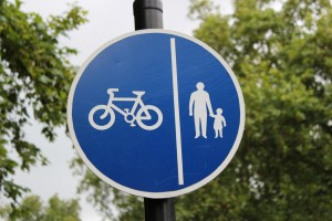 Biking & Pedestrian Zone Sign