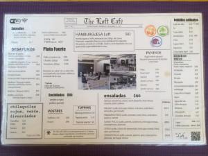 The Loft Café Menu