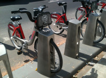 mibici bicycles parked at a station