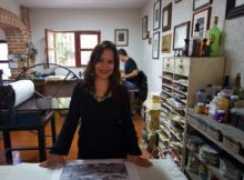 Marina Pallares in the studio